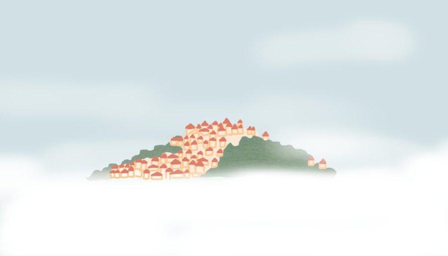 Dessin : le village de Codes-sur-Ciel entouré de nuages