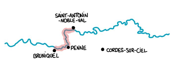 Carte : les villages visités dans les Gorges de l'Aveyron