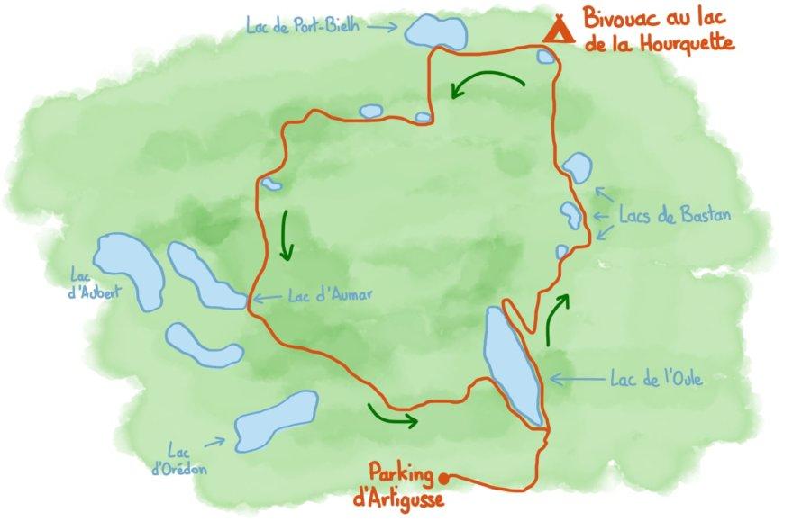 Carte trek 2 jours massif du Néouvielle