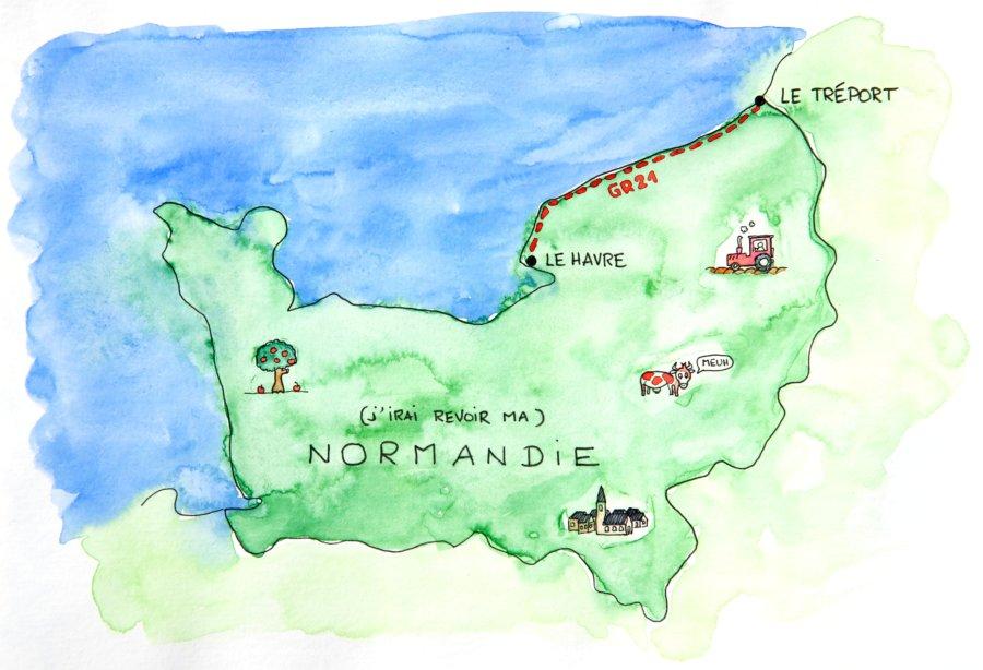 Carte : Randonnée GR21 Normandie