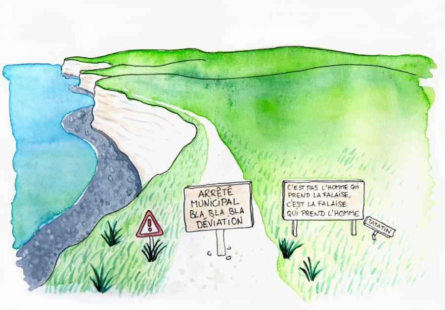 Dessin : interdiction sentier falaise normandie