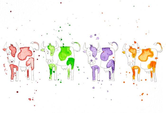 Dessin : troupeau de vaches colorées