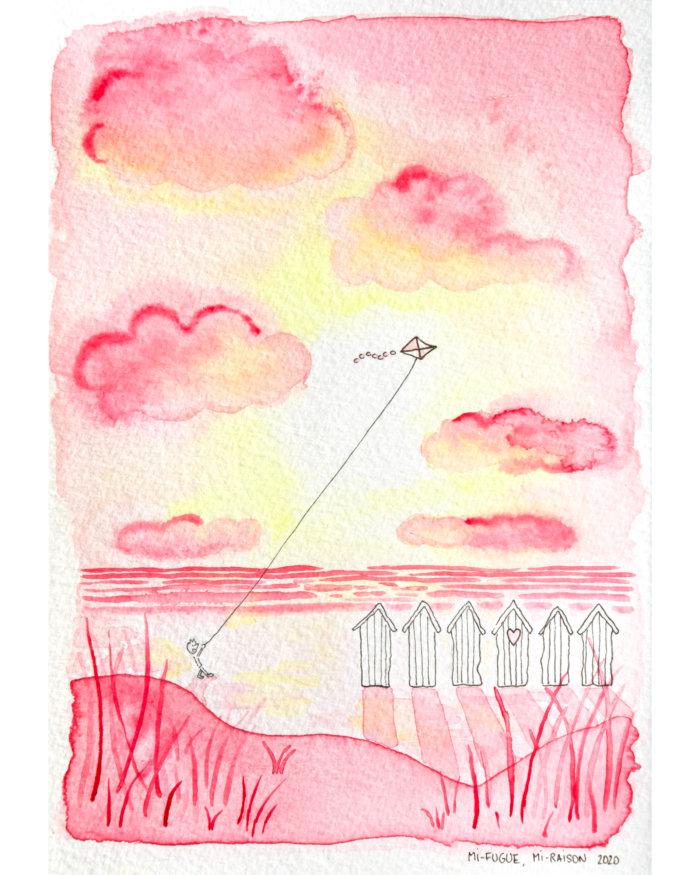 Dessin à l'aquarelle : cerf-volant et cabines de plage au coucher du soleil en Normandie