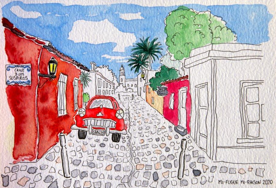Dessin et aquarelle : Colonia del Sacramento Uruguay