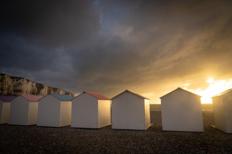 Cabines de plage au Tréport en Normandie