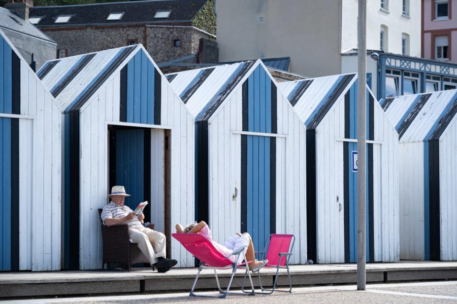 Cabines de plage à Yport en Normandie