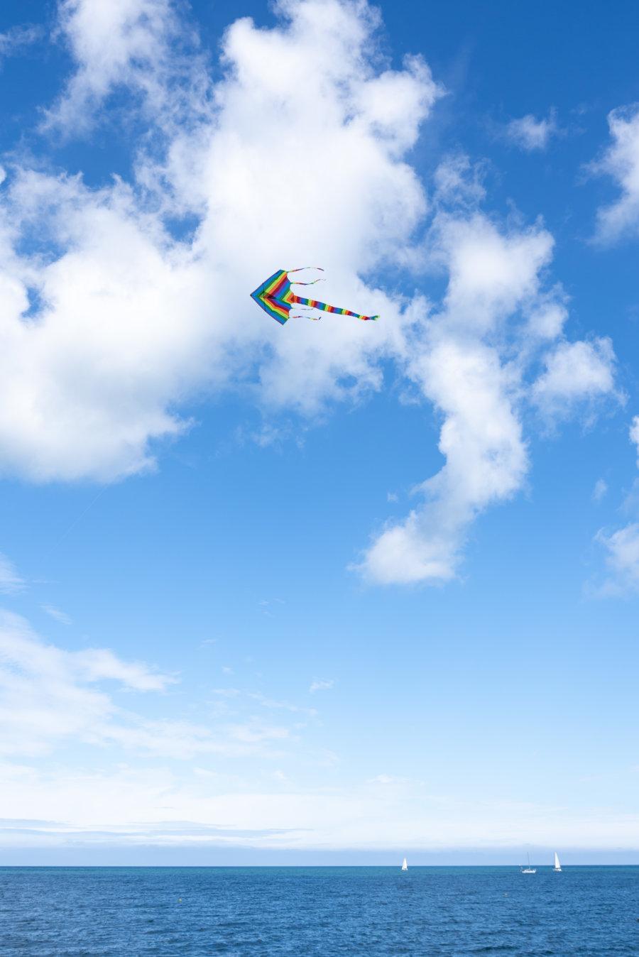 Cerf volant en bord de mer à Fécamp