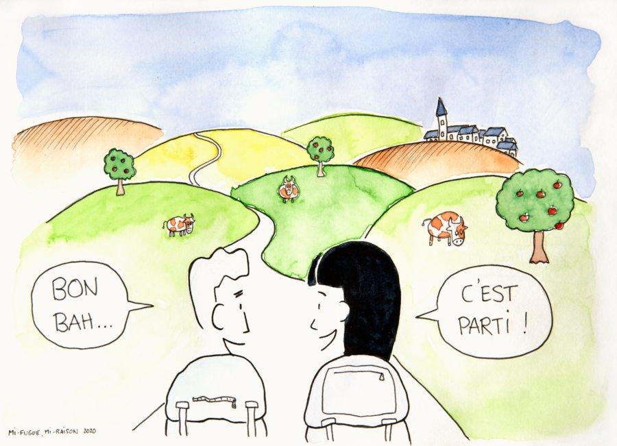 Dessin : départ randonnée Normandie GR21