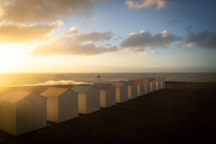 Coucher de soleil sur la plage du Tréport
