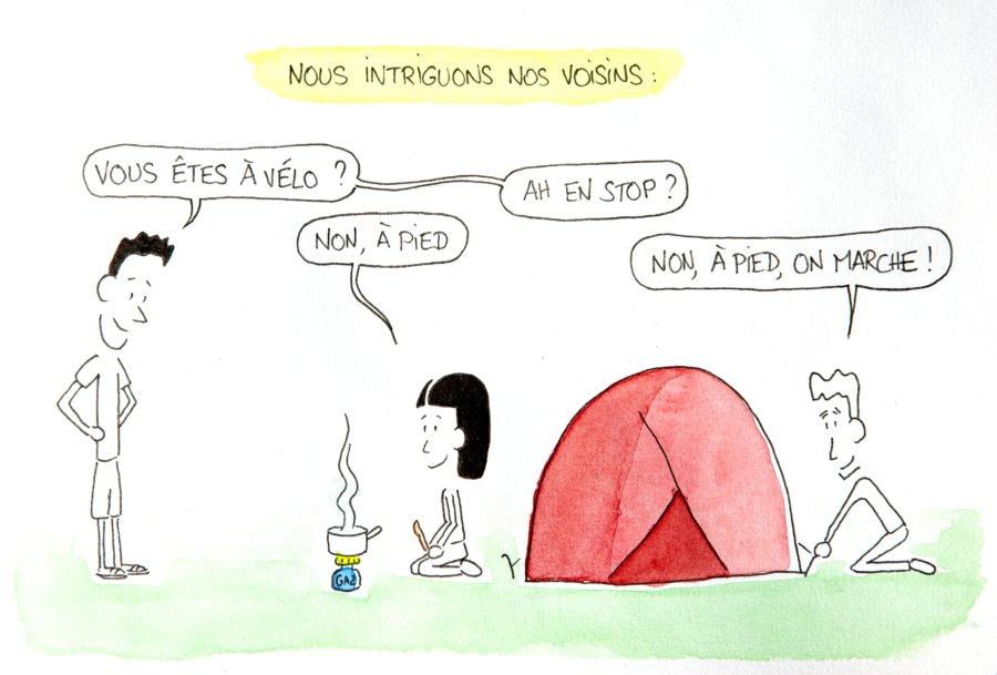 Dessin : nous intriguons nos voisins de camping