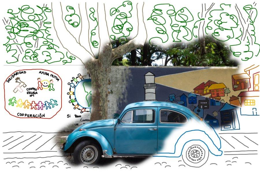 Vieille voiture à Colonia en Uruguay