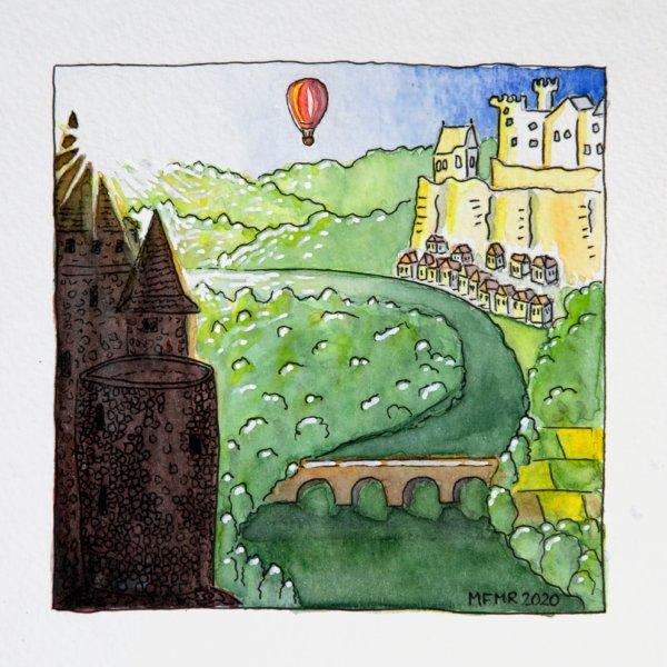 Aquarelle dessin : les châteaux de Dordogne