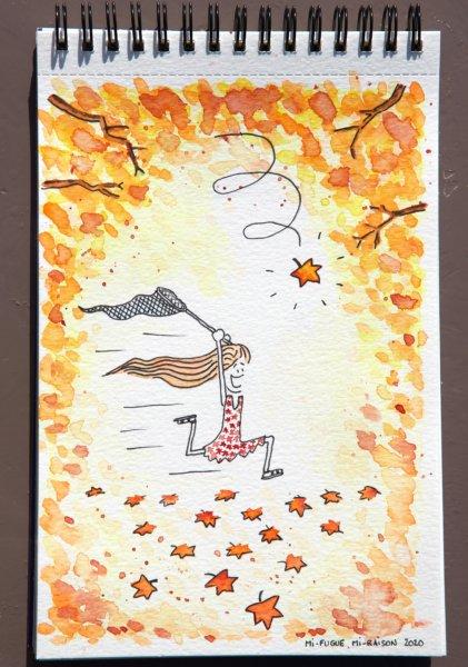Aquarelle : fillette qui court après les feuilles d'automne