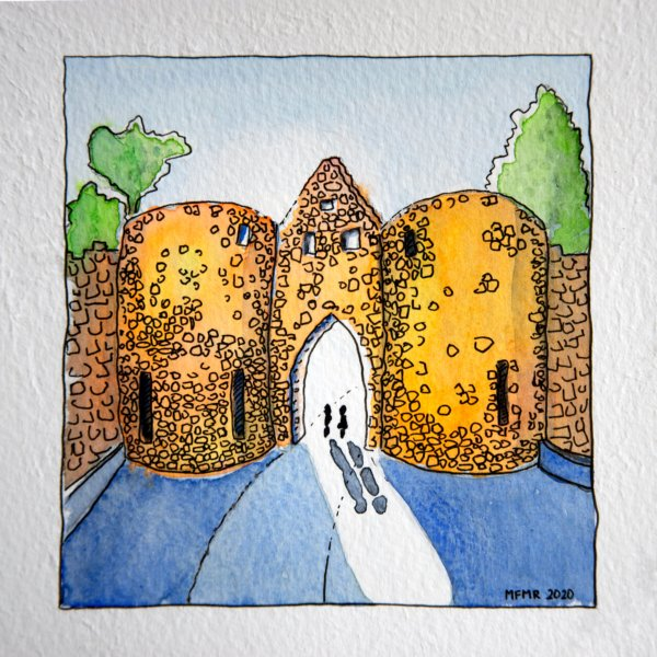Aquarelle : porte des deux tours à Domme, Dordogne