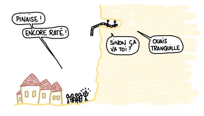 Dessin : abrités dans le fort de La Roque Gageac
