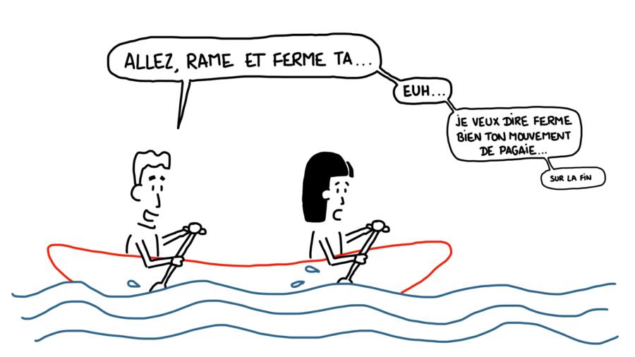 Dessin : canoë sur la Dordogne ferme bien ton mouvement