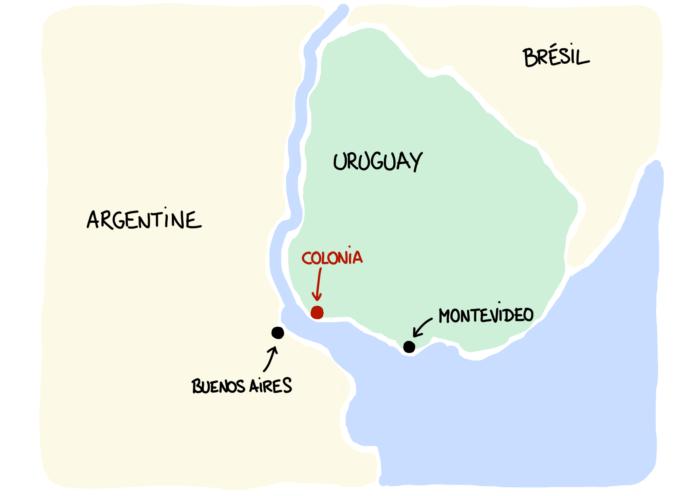 Carte ferry Colonia del Sacramento depuis Buenos Aires
