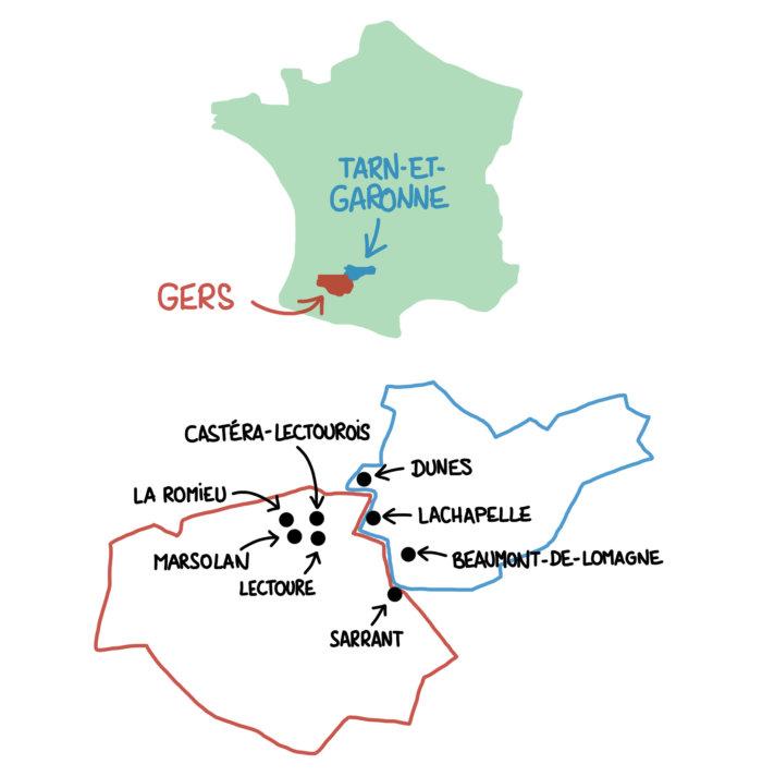 Carte de la Lomagne, Gers et Tarn-et-Garonne
