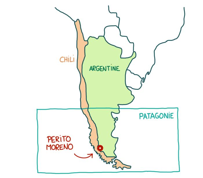 Carte de l'Argentine El Calafate