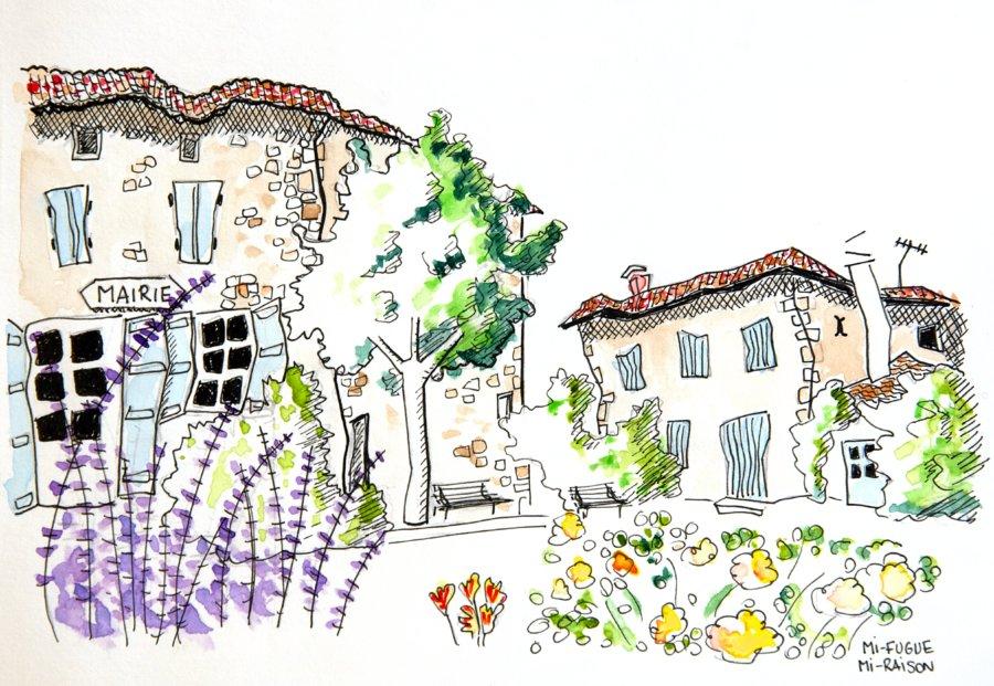 Dessin : le village de Castéra-Lectourois