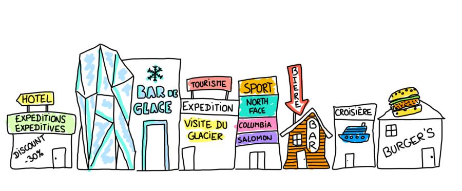 Dessin : le centre ville d'El Calafate caricaturé