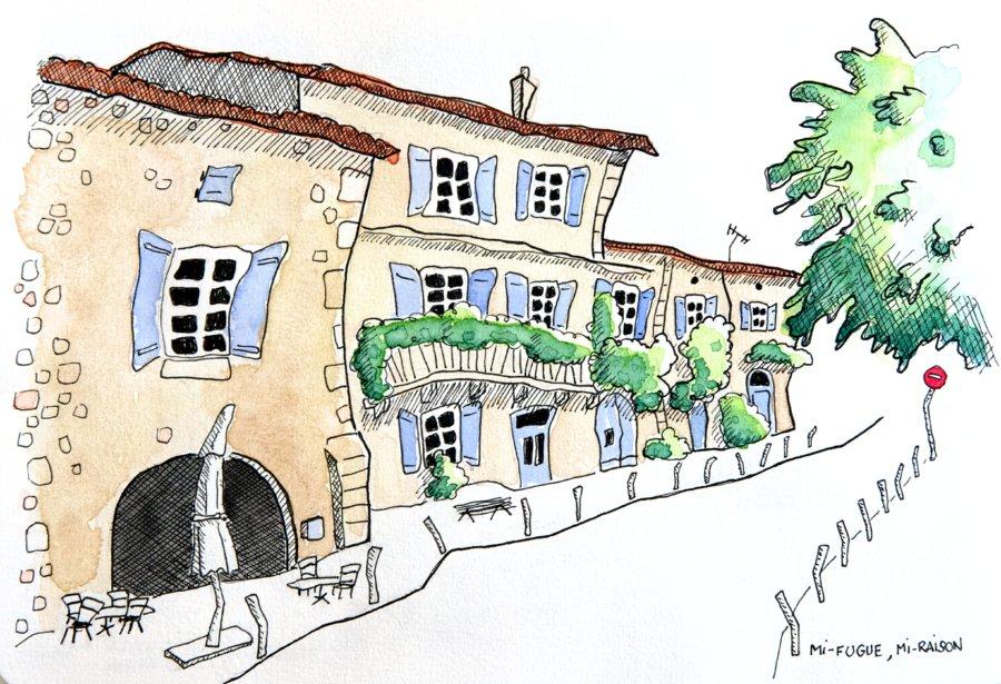 Dessin : le place centrale de La Romieu