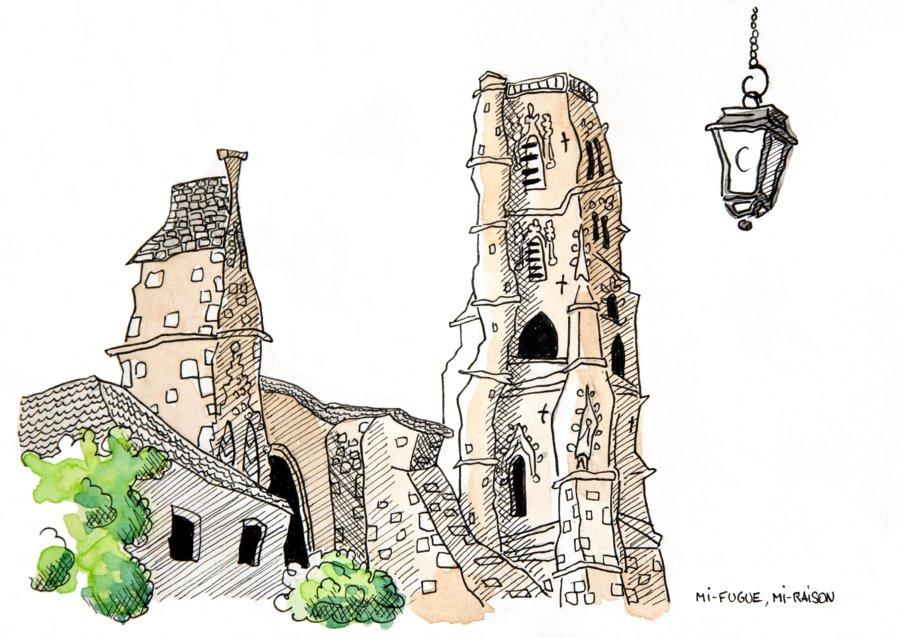 Dessin : la cathédrale de Lectoure