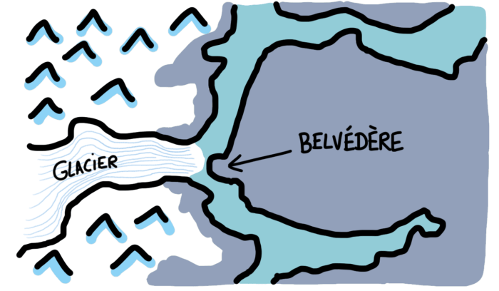 Dessin : Perito Moreno vue satellite