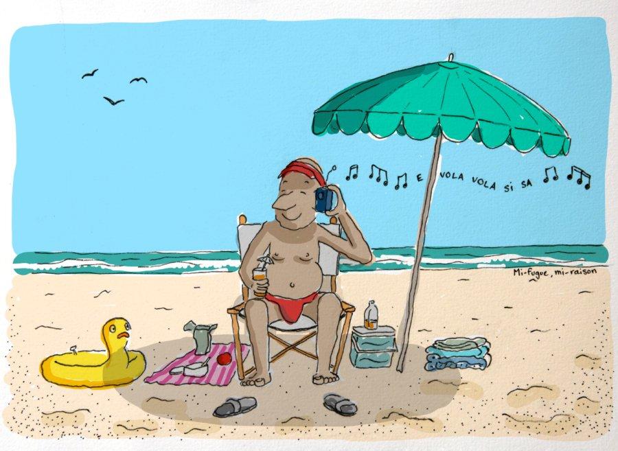 Dessin : Bronzette sur la plage de Cefalù