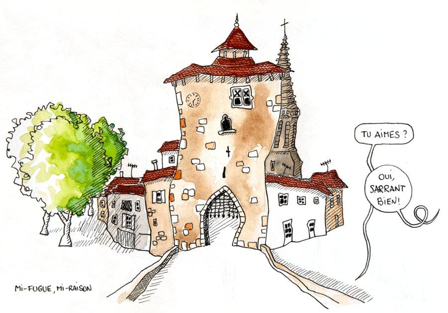 Dessin illustration : le village de Sarrant Gers