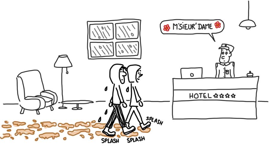 Dessin : les pieds plein de boue dans un hôtel d'El Chaltén