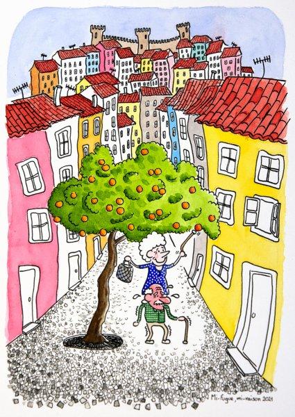Dessin : petits vieux dans les rues d'Alfama à Lisbonne