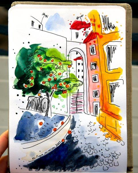 Dessin : Arche et oranger dans Alfama, Lisbonne