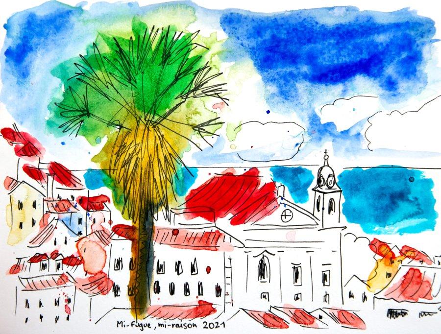 Dessin : Mirador de Portas do Sol, Alfama, Lisbonne