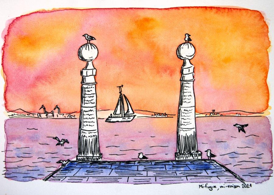 Dessin : Cais das Colonas à Lisbonne