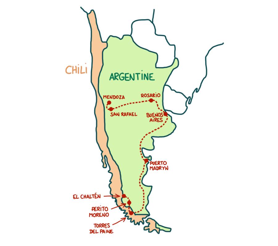 Carte circuit voyage Argentine