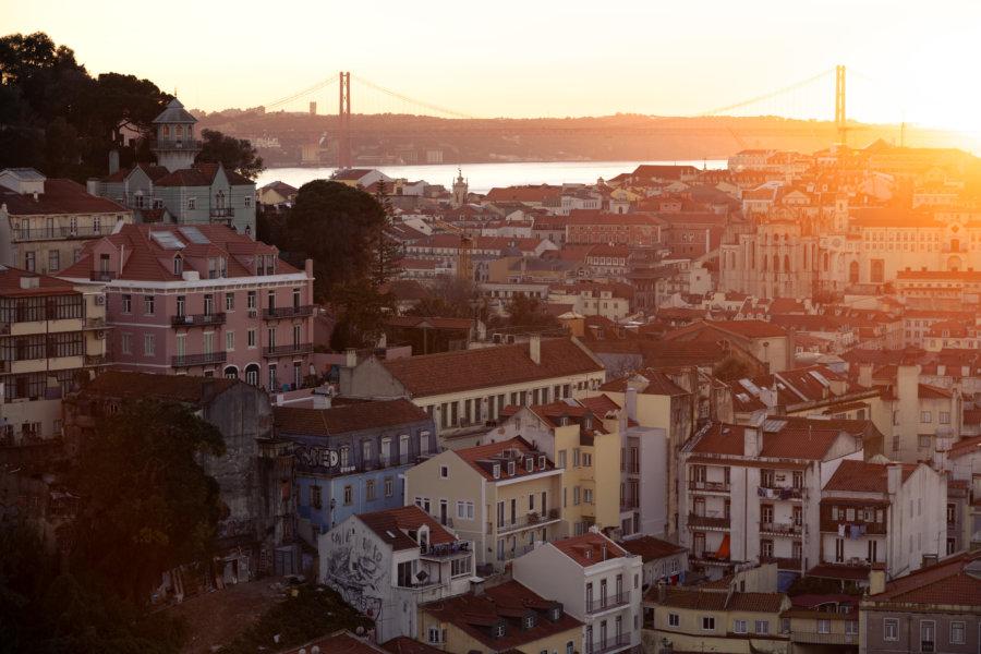 Coucher de soleil sur Lisbonne depuis Graça
