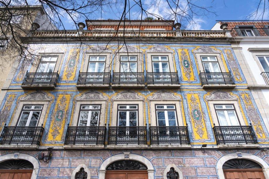 Façade à Lisbonne près du marché de la ladra