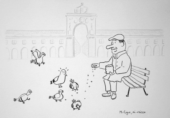Dessin : papi qui nourrit les pigeons à Lisbonne