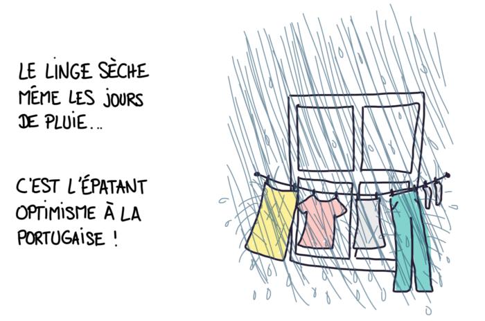 Dessin : linge qui sèche sous la pluie au Portugal