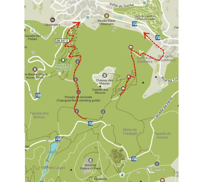 Carte Sintra redescente depuis les chateaux