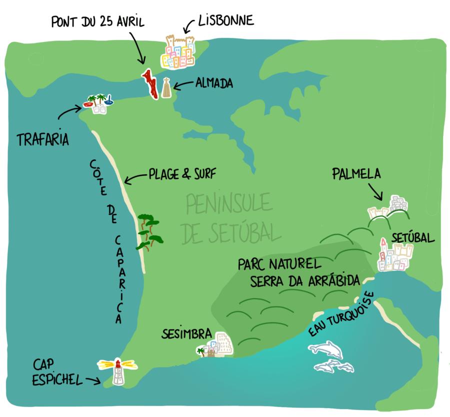 Carte péninsule de Setúbal et Arrábida