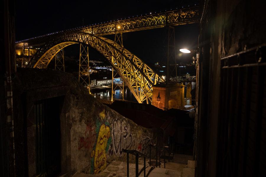 Escalier de Guindais et pont de Porto de nuit