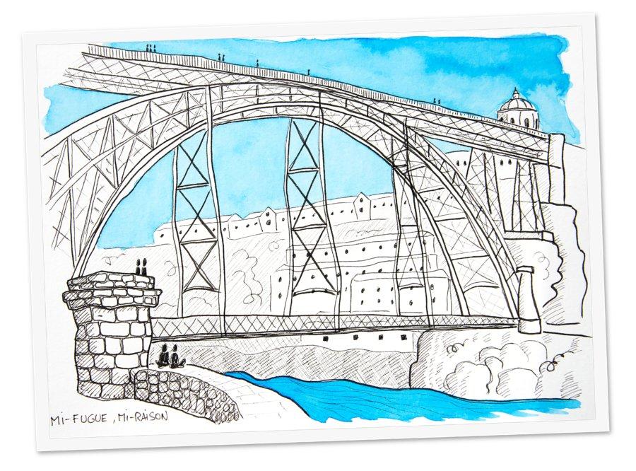 Dessin : Pont Dom-Luí à Porto, Portugal