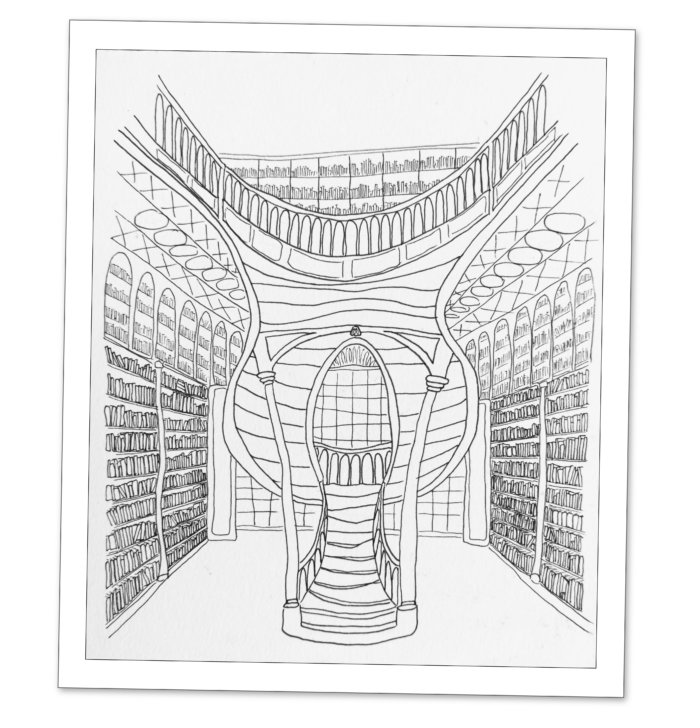 Dessin : intérieur de la librairie Lello à Porto